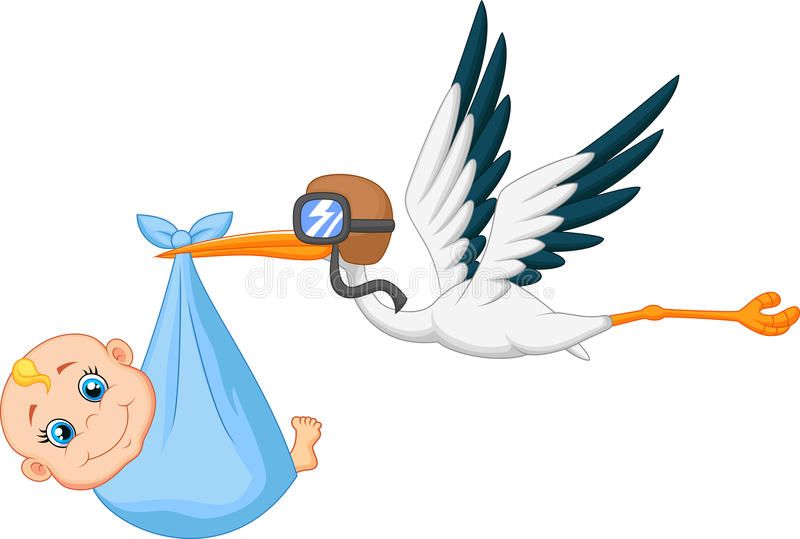 Cartoon Stork carrying baby royalty free illustration