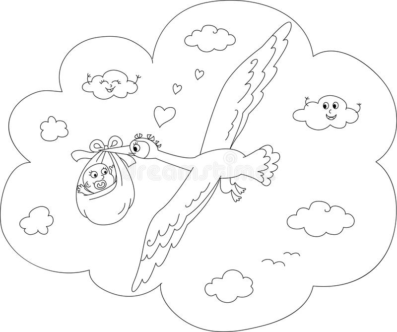 Cartoon Stork Coloring Page Stock Image - Image of cloud, coloring ...