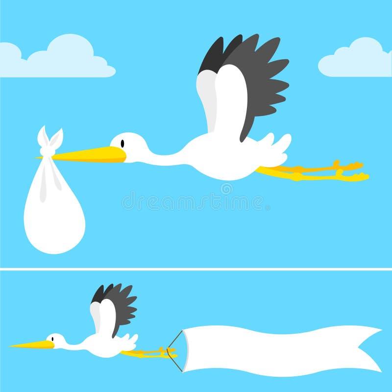 Cartoon stork flying with banner stock illustration