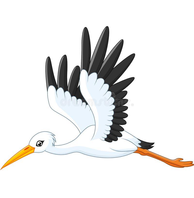 Cartoon stork flying stock illustration