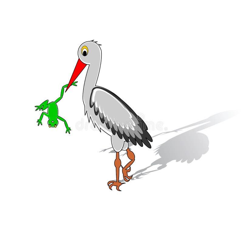 A cartoon stork holding a frog in his beak stock illustration