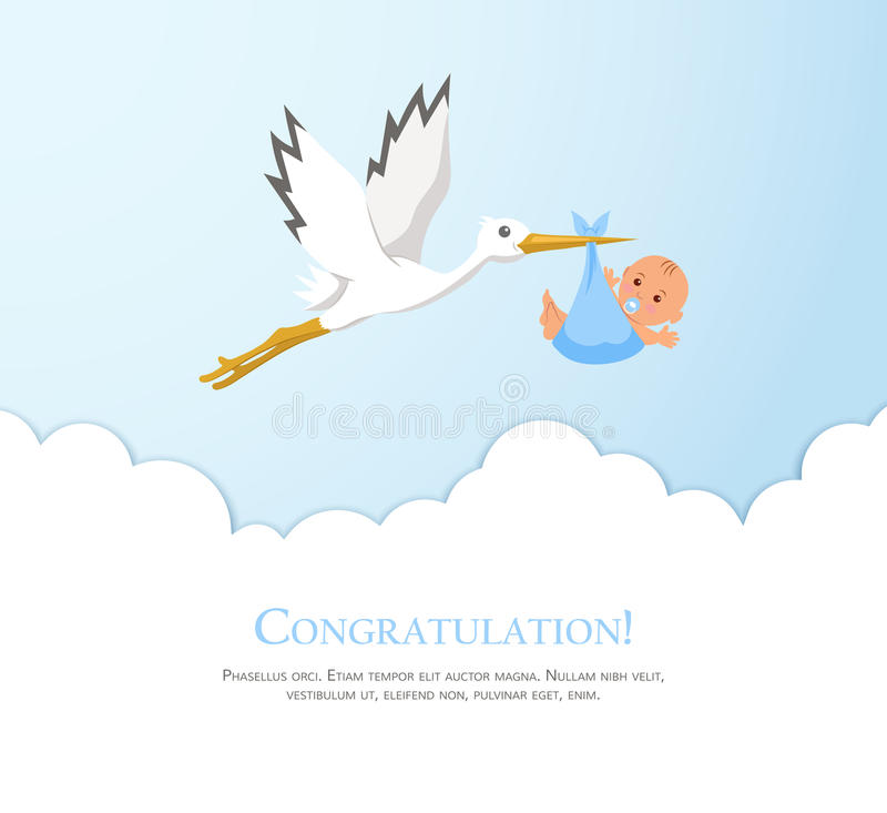 Cartoon Stork In Sky With Baby. Design Template For Greeting Card ...