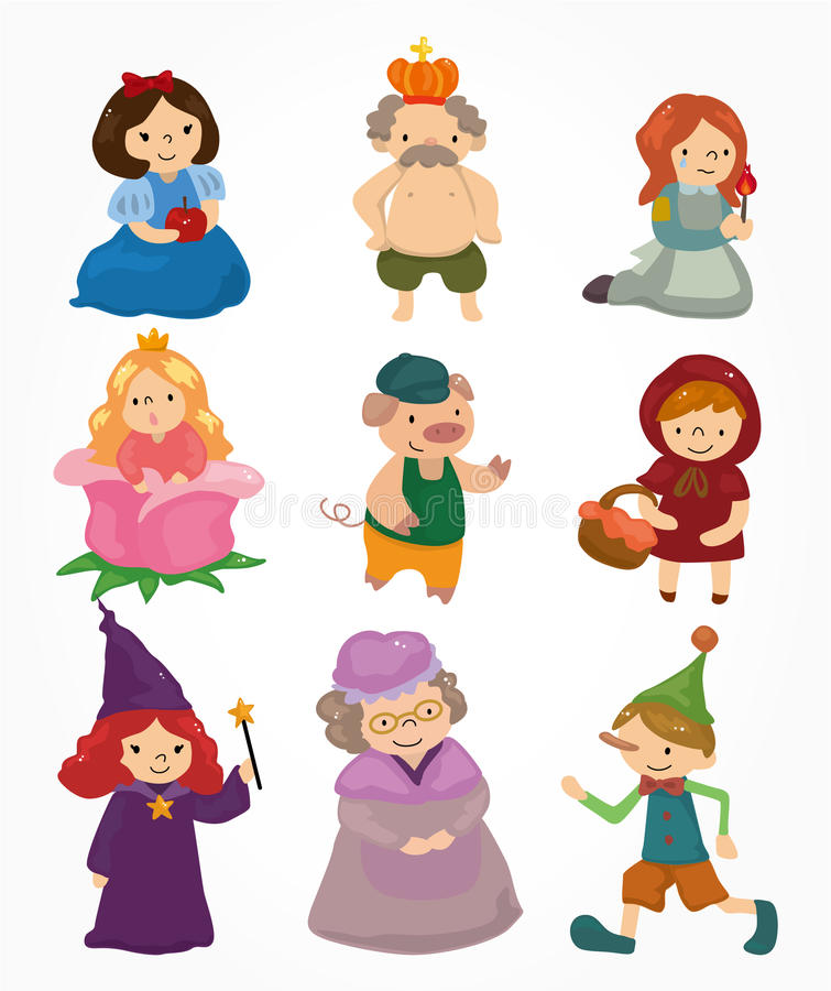 Cartoon story people icons set vector illustration