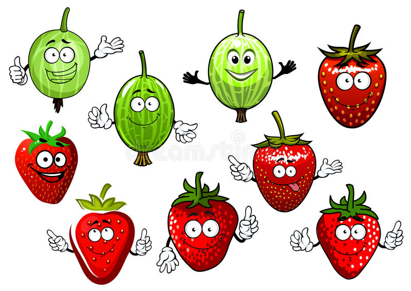 Cartoon strawberry and gooseberry fruits vector illustration