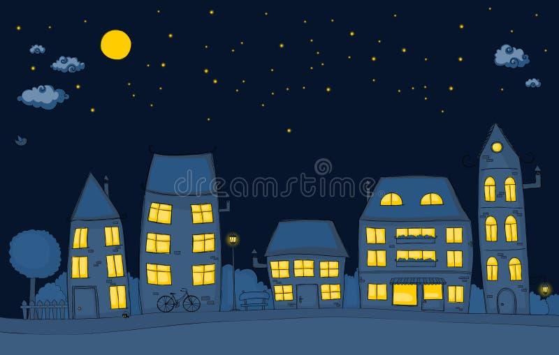 Cartoon Street At Night Stock Vector