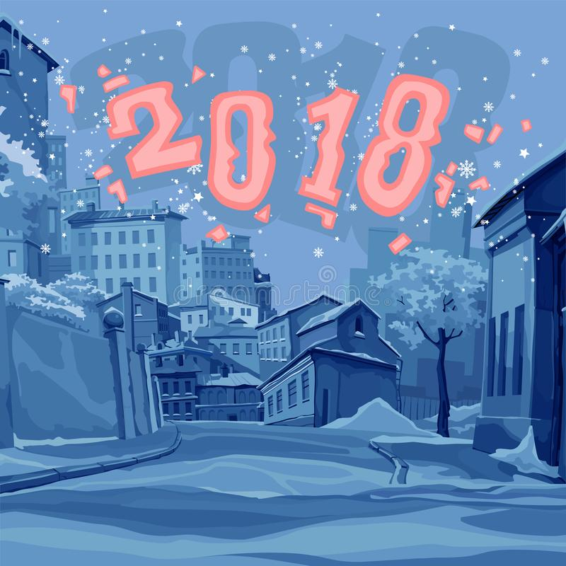 Cartoon street of old town in the winter of 2018. Cartoon street in blue tones of old town in the winter of 2018 vector illustration
