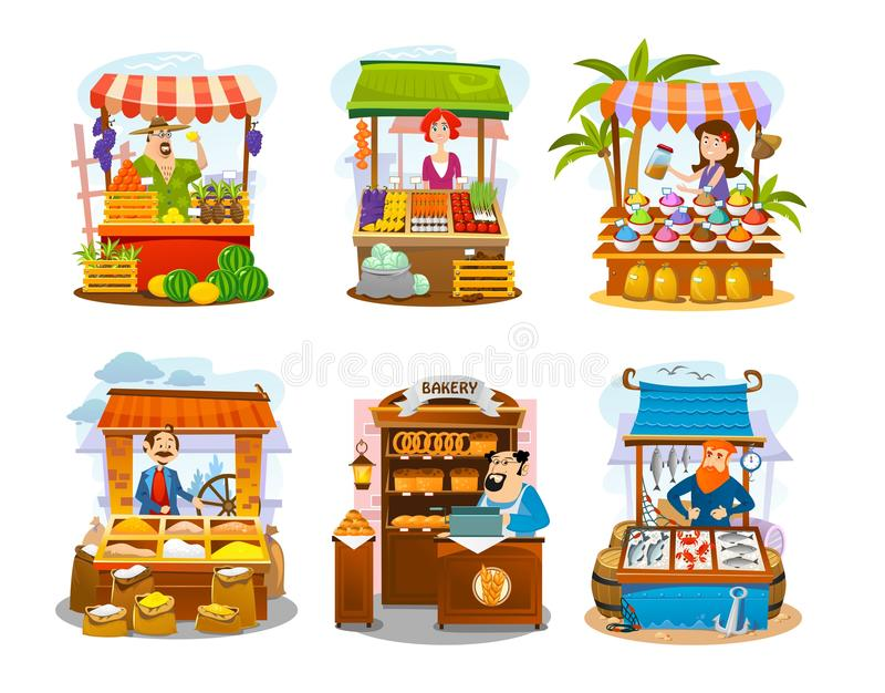 Cartoon street shops set. Fruits, vegetables, spices, grains, seafood and bakery markets. Vector local business illustration. Cartoon street shops set. Fruits stock illustration