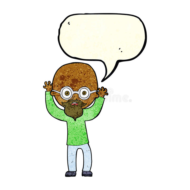 Cartoon stressed bald man with speech bubble royalty free illustration
