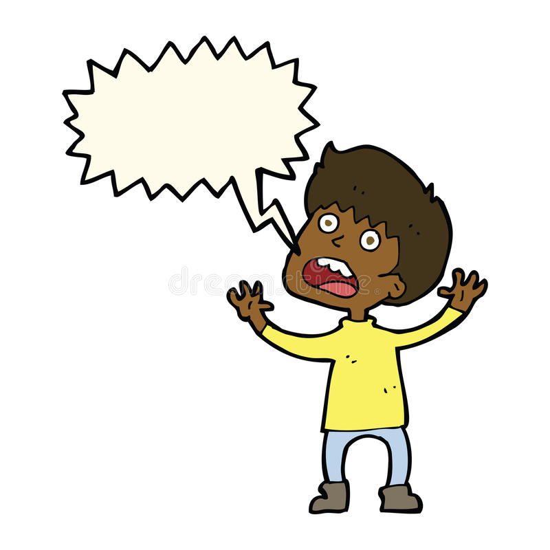 Cartoon stressed boy with speech bubble vector illustration
