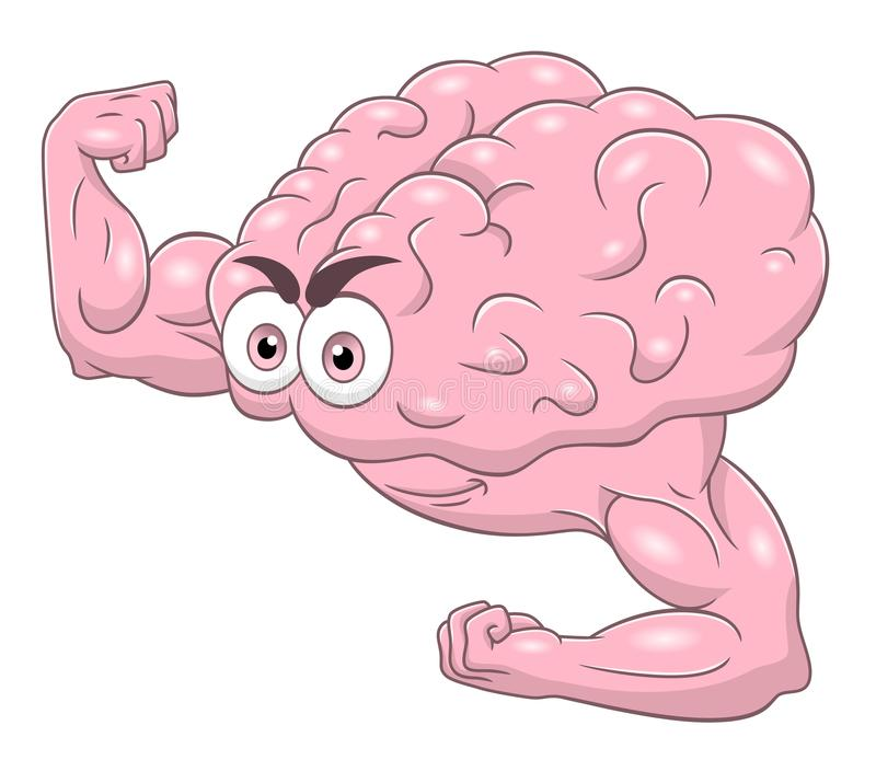 Cartoon strong brain vector illustration