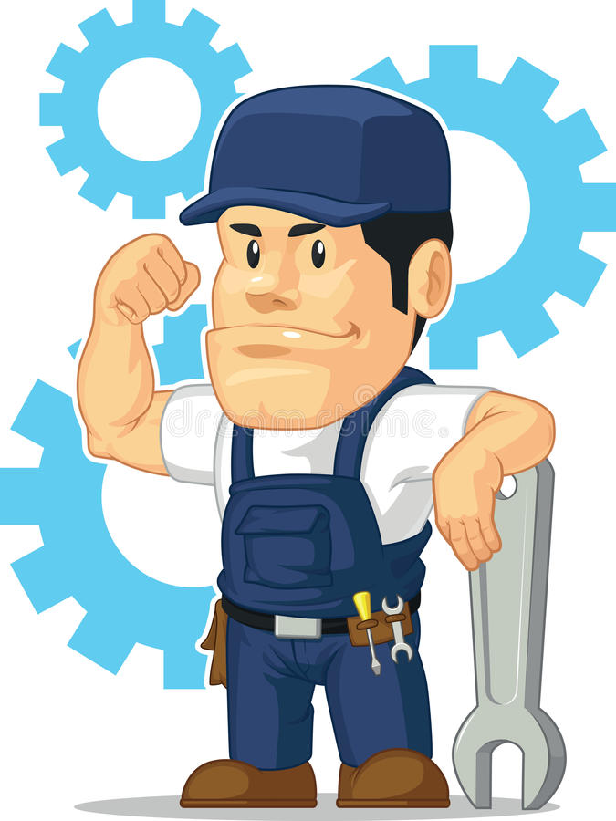 Cartoon of Strong Mechanic with Wrench royalty free illustration