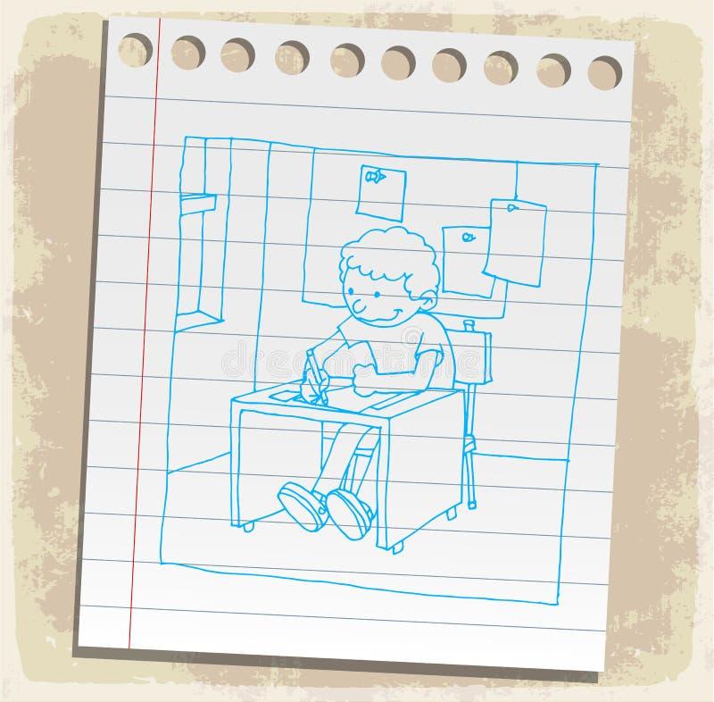 Cartoon student on paper note, vector illustration.  royalty free illustration