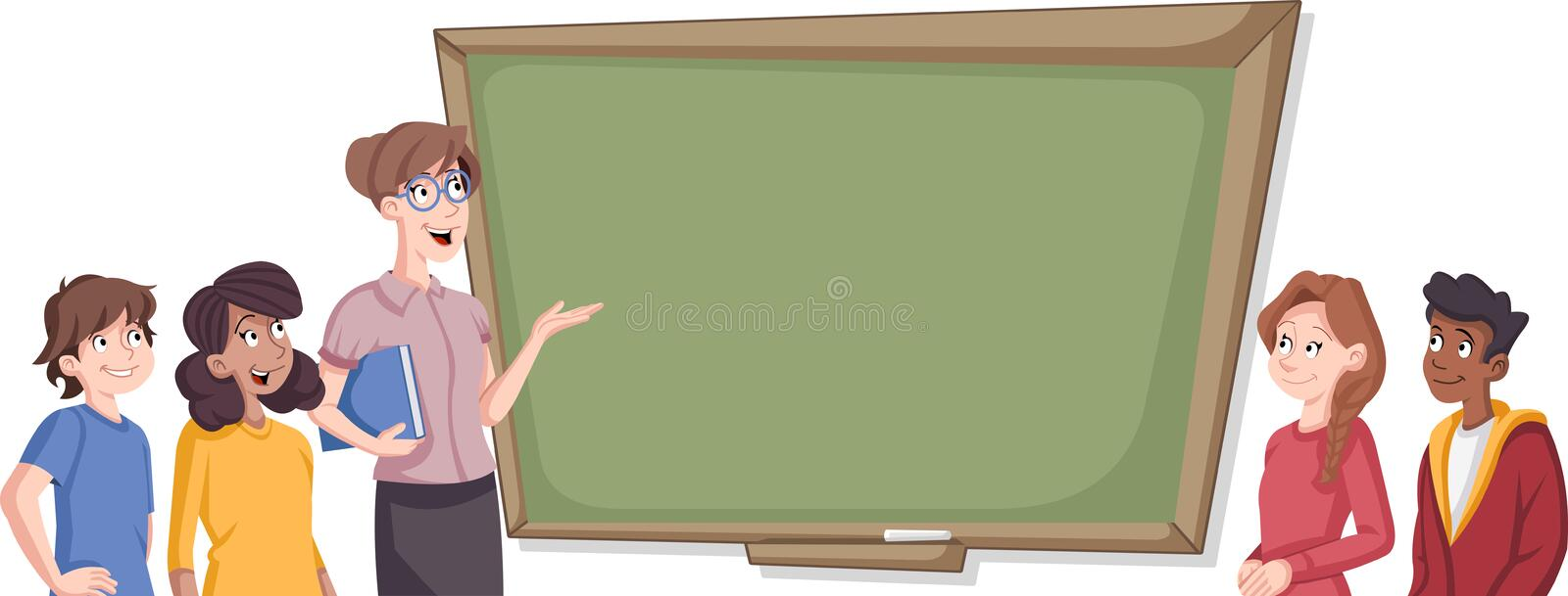 Cartoon students in classroom. With teacher royalty free illustration