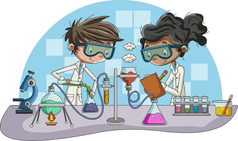 Cartoon students doing research with chemical fluid in the laboratory. vector illustration