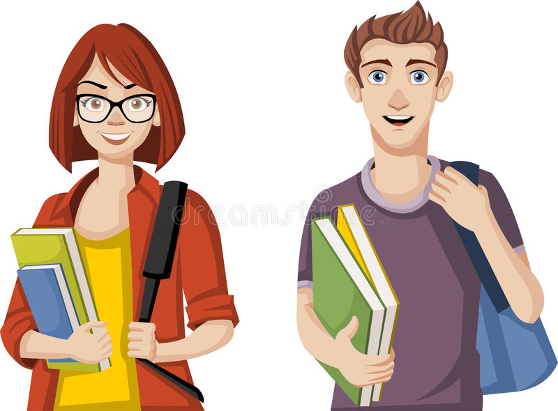Cartoon students. Teenager couple with backpacks and books royalty free illustration