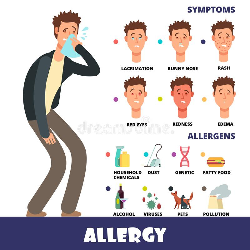 Cartoon stye vector allergy infographics with allergens and allergy symptoms royalty free illustration