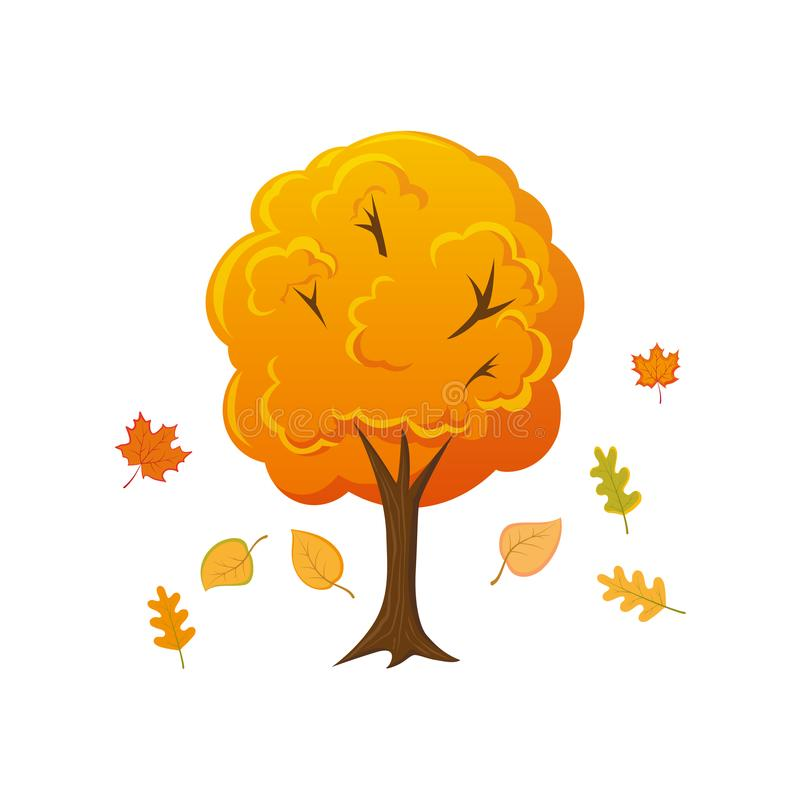 Cartoon style autumn tree with leaves falling down royalty free illustration