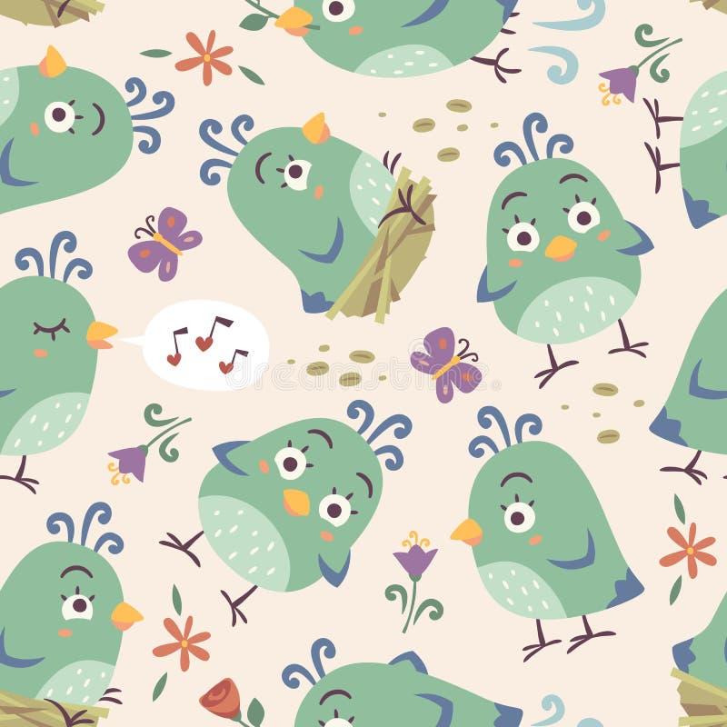 cartoon style birds seamless pattern vector illustration