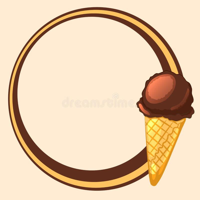 Round Frame With Chocolate Ice Cream Cone Stock Vector ...