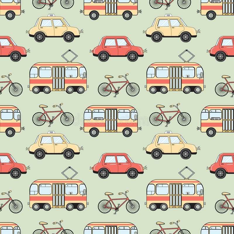 Cartoon style city transport seamless pattern stock illustration