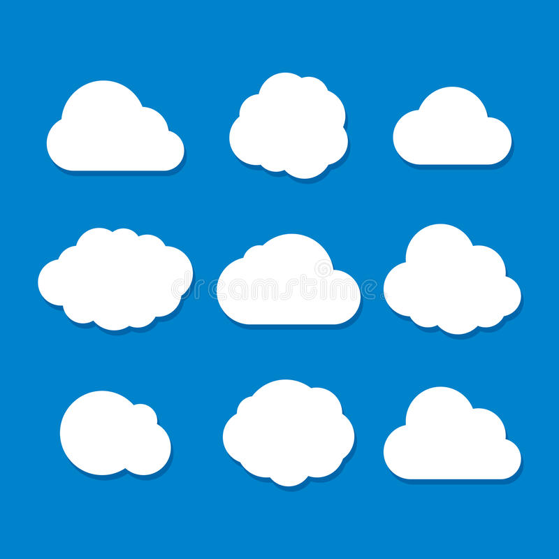 Cartoon Style Cloud Set. Vector royalty free illustration
