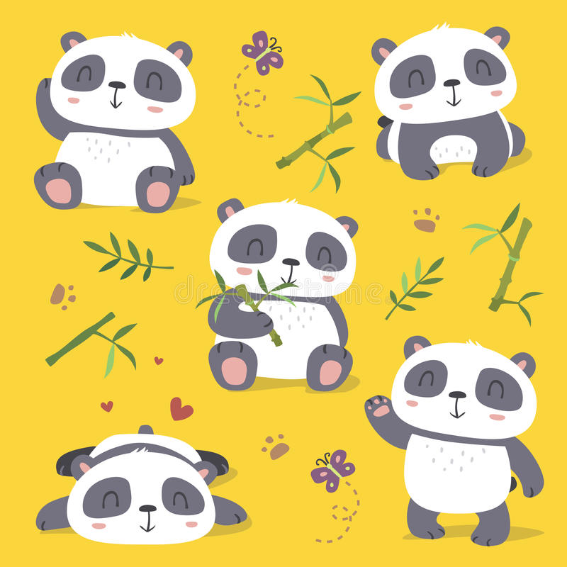 Cartoon style cute panda set stock illustration