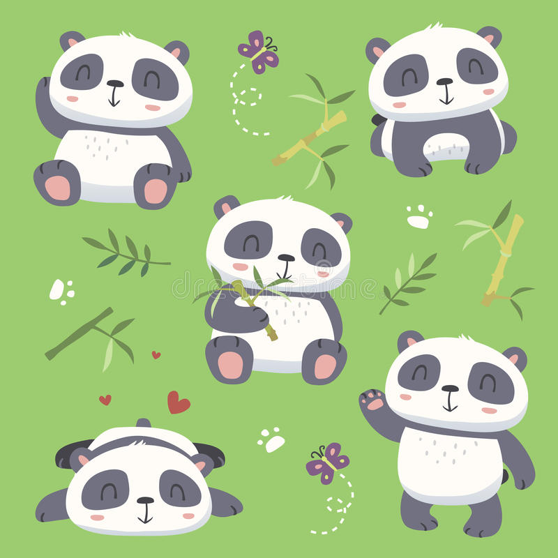 Cartoon style cute panda set vector illustration