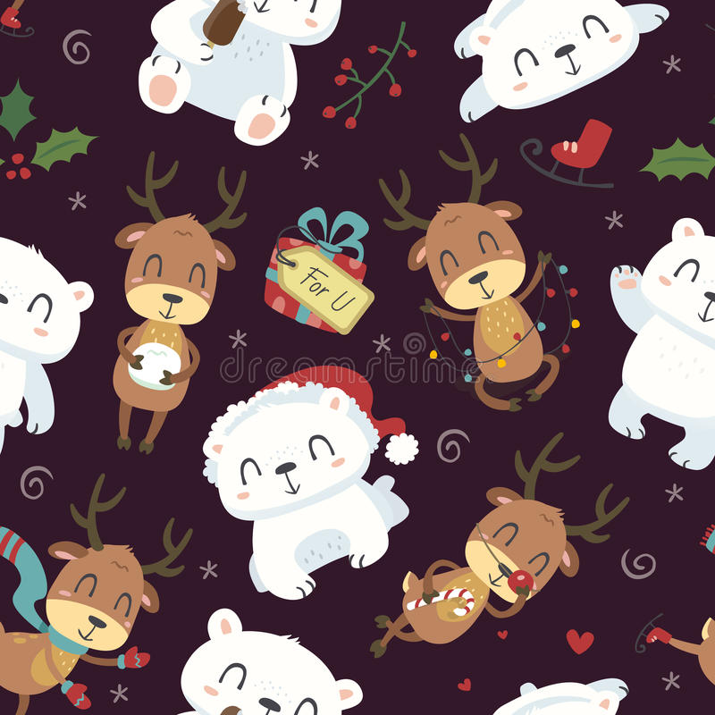 Cartoon style cute polar bear and deer seamless pattern stock illustration