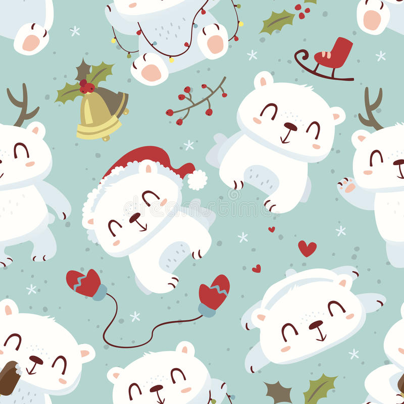 Cartoon style cute polar bear seamless pattern stock illustration