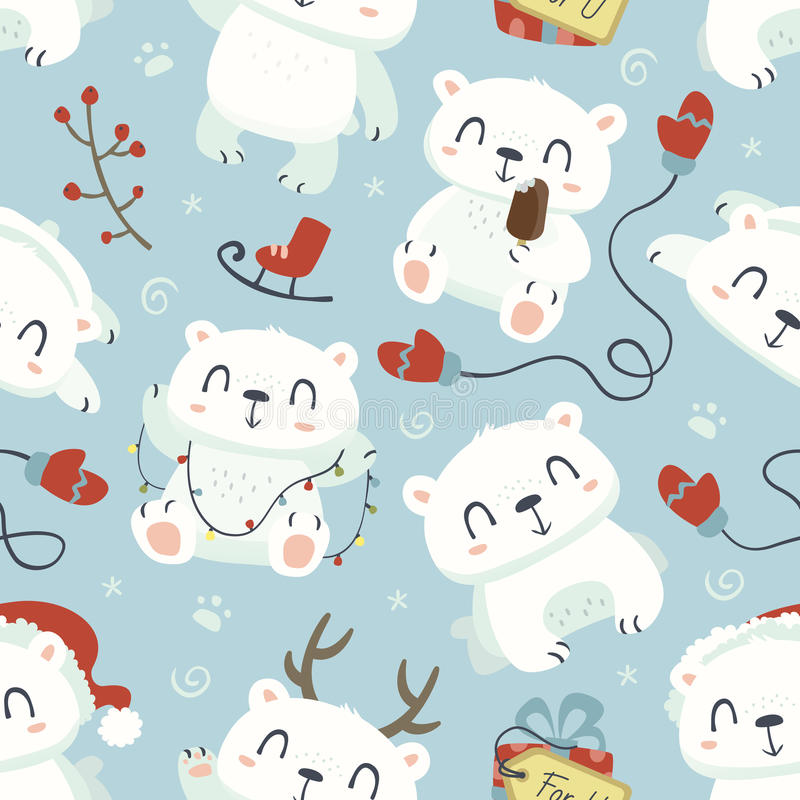 Cartoon style cute polar bear seamless pattern royalty free illustration