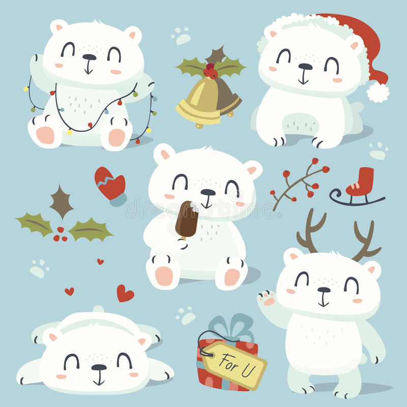 Cartoon style cute polar bear set stock illustration