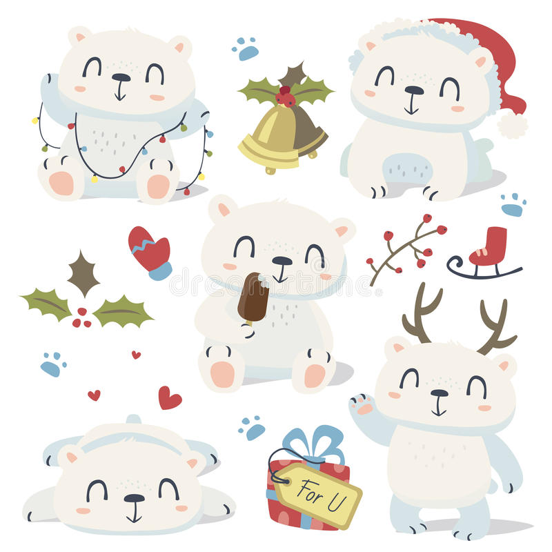 Cartoon style cute polar bear set royalty free illustration