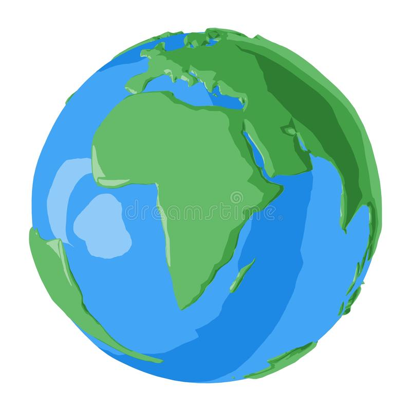 Cartoon style Earth with green continent of Africa and blue oceans. Cartoon style beautiful planet Earth with green continent of Africa and blue oceans royalty free illustration