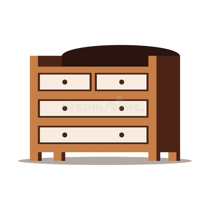 Cartoon style flat design vector illustration of wooden chest of drawers. With box for storage of clothes, linen icon isolated on white background. Bedroom royalty free illustration