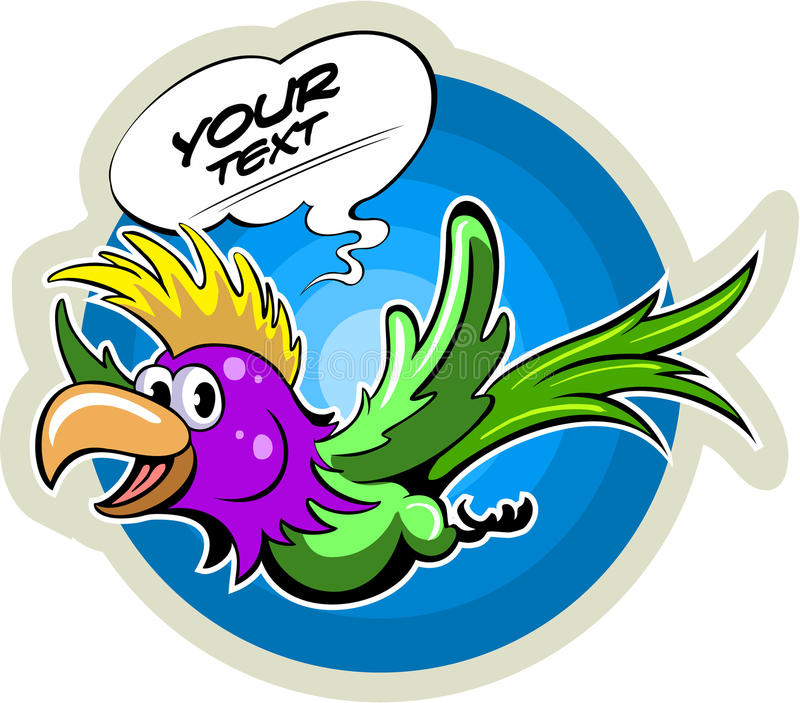 Cartoon style flying parrot, with the comics text box, vector bird vector illustration