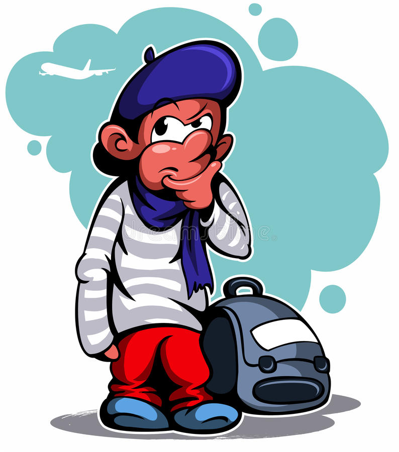 Cartoon style french boy with the bag and beret, vector image. Cartoon style french boy with the bag and beret, vector image stock illustration