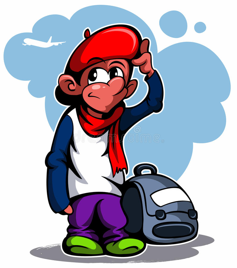 Cartoon style french boy with the bag and beret, vector image. Cartoon style french boy with the bag and beret, vector image royalty free illustration