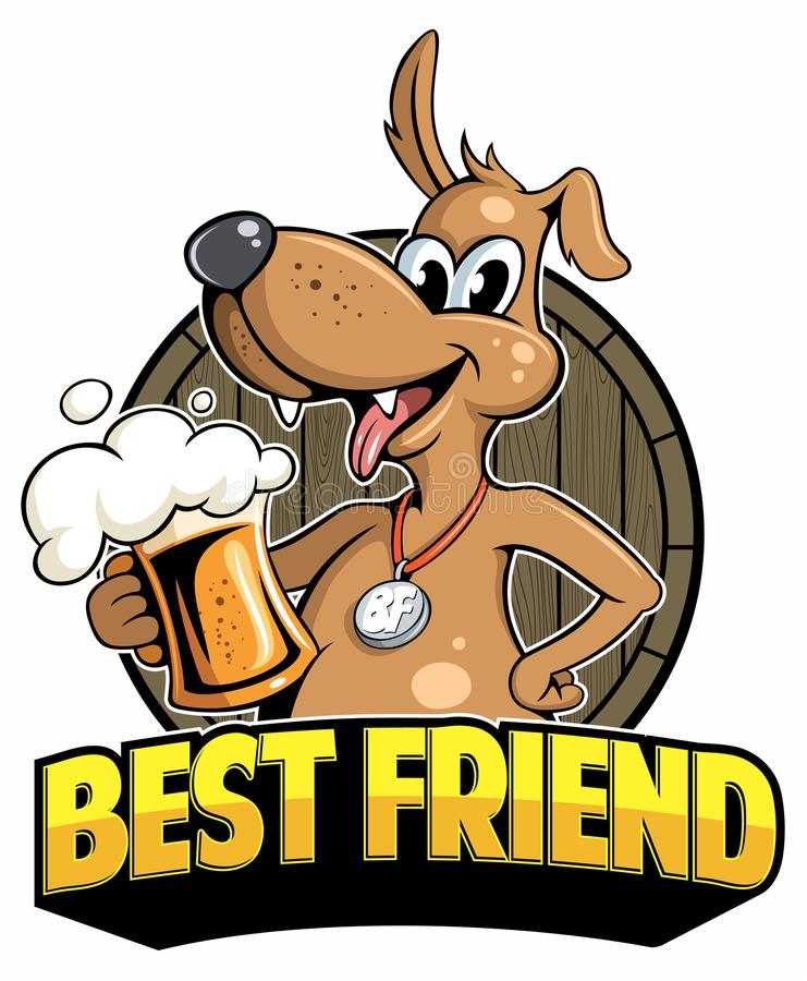 Free Cartoon Style Funny Dog With Beer Mug And Beer Barrel On Background, Vector Image. Stock Photos - 112031953