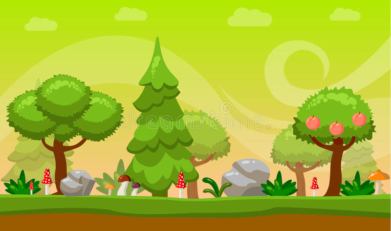Cartoon style Game background. Vector illustration. Nature. Landscape. Sunlight. royalty free illustration