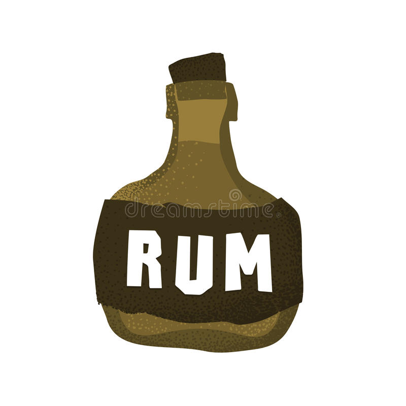 Cartoon style grunge pirate rum bottle isolated vector illustration on white. Cartoon style grunge pirate rum bottle isolated vector illustration vector illustration