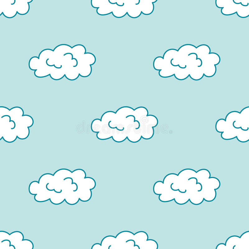 Cartoon style hand drawn cloud sky seamless pattern stock illustration