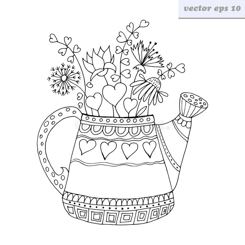 Watering can. Cartoon style hand drawn watering can with flowers and valentine hearts. symbol of spring, summer and blossoming. good for coloring book, print vector illustration