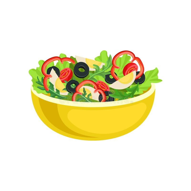 Flat vector icon of yellow bowl with tasty salad. Appetizing dish from boiled eggs and fresh vegetables. Element for. Cartoon style icon of yellow bowl with vector illustration