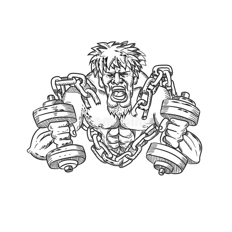 Muscular Male With Dumbbells Breaking Free From Chains Drawing. Cartoon style illustration of a muscular, buffed or ripped male athlete with goatie and dumbbells royalty free illustration