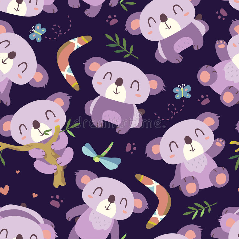Cartoon style koala seamless pattern vector illustration