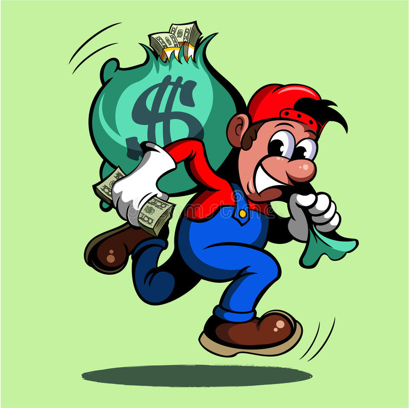 Cartoon style man, running with the bag of money, image.  stock illustration