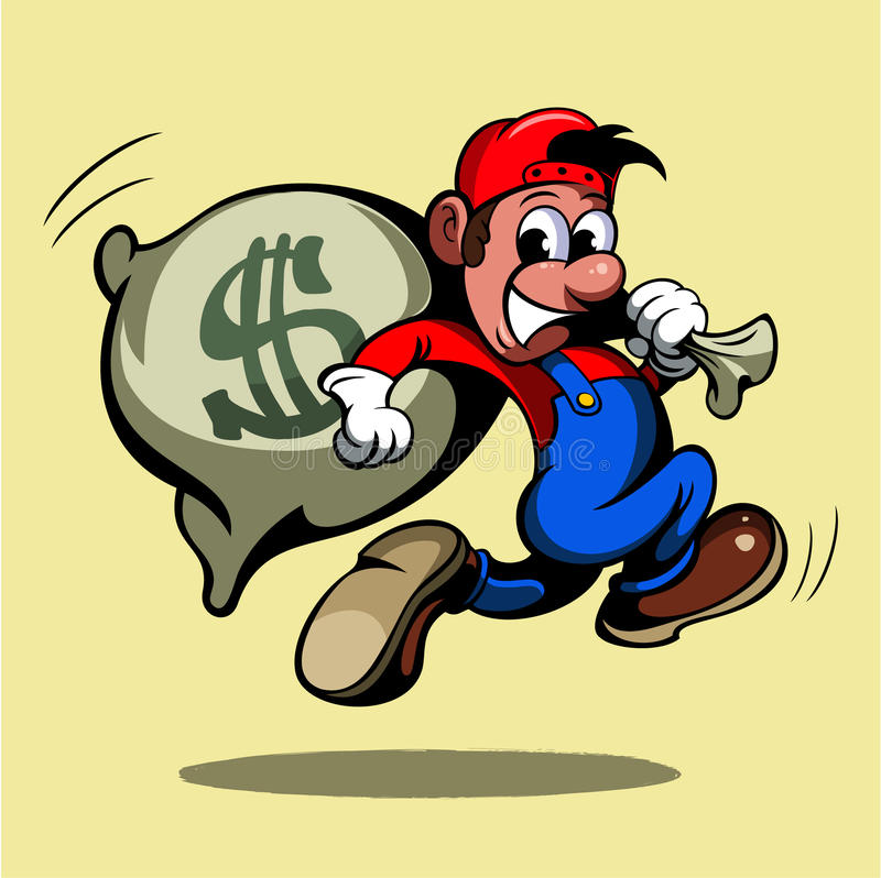 Cartoon style man, running with the bag of money, vector image.  vector illustration