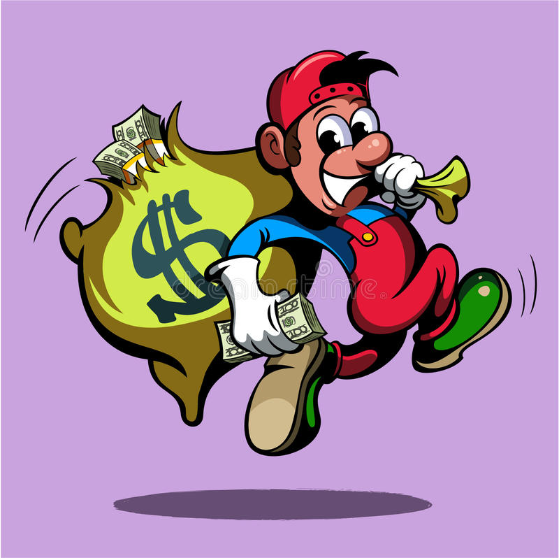 Cartoon style man, running with the bag of money, vector image.  stock illustration