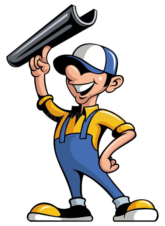Free Cartoon Style Man Worker, Gutter Installer With The Gutter Piece, Isolated On White Background. Stock Photography - 161554712
