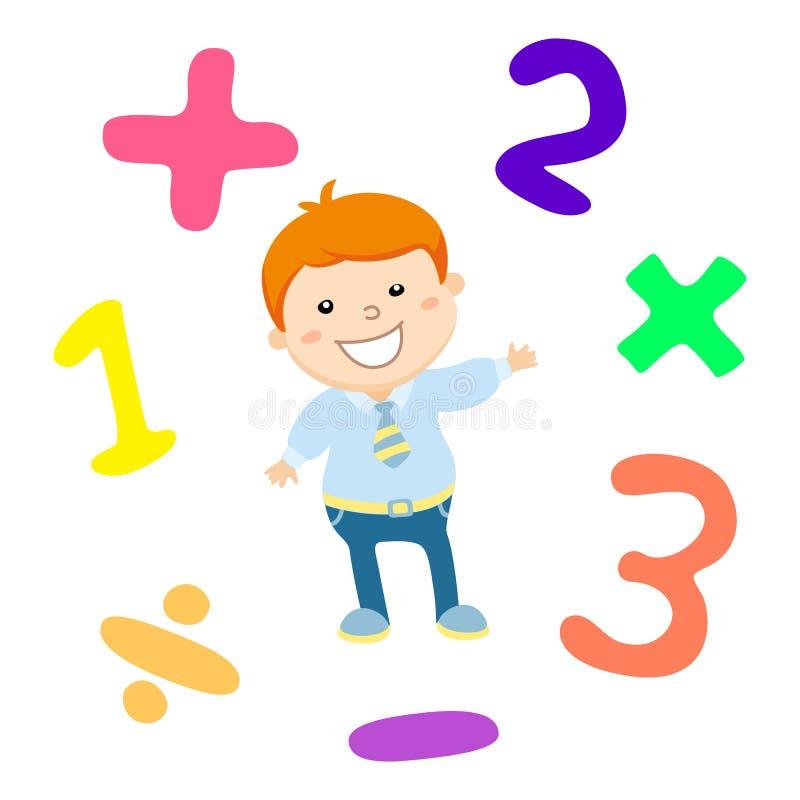 Cartoon style math learning game illustration. Mathematical arithmetic logic operator symbols icon set stock illustration